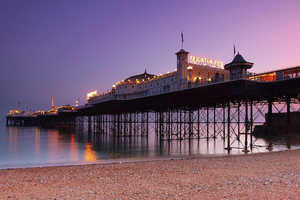 Le Brighton Pier au coucher du soleil