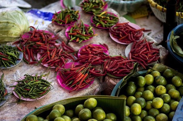 marché chili piment poivre citron vert